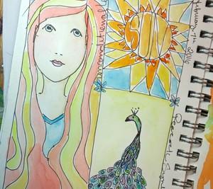 Peacock in my art journal